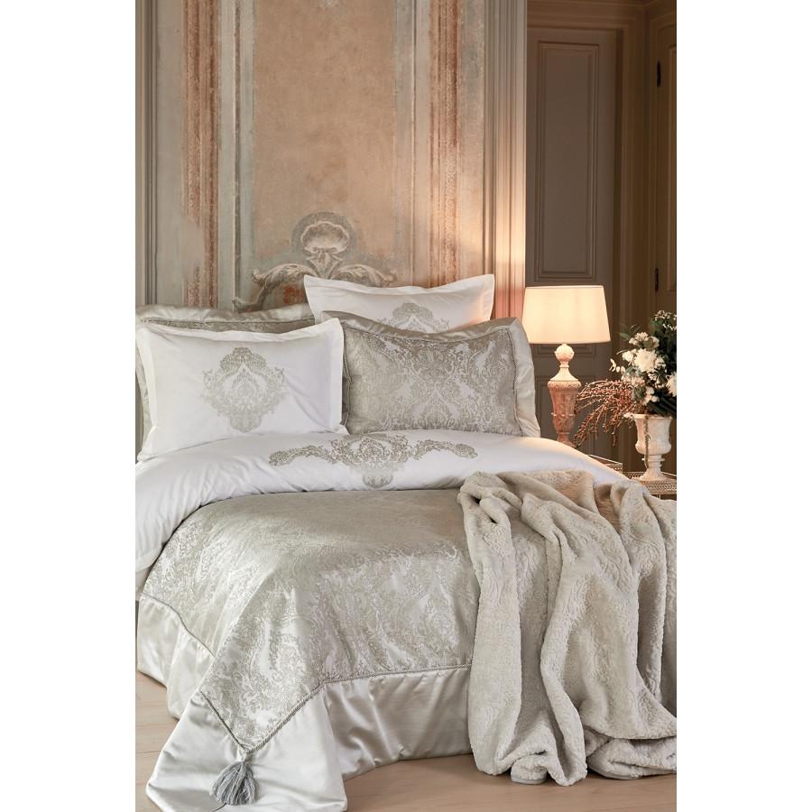 Набор постельное белье с покрывалом + плед Karaca Home - Eldora gri 2020-1 серый евро (10)