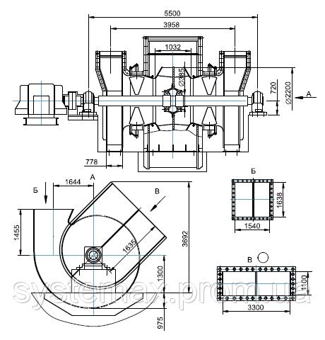 Чертеж габаритных и присоединительных размеров дымососа ДН-22x2