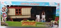 Домик трейлер для зверят Happy Family с мебелью, аксессуарами и светом