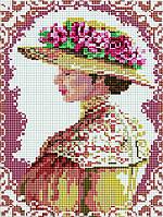 Алмазная вышивка на подрамнике Аристократическая дама, размер 30*40 см, забивка полная, стразы квадратные
