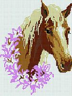 Алмазная мозаика на подрамнике Конь в цветах, размер 30*40 см, забивка полная, стразы квадратные