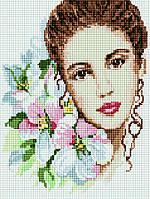 Алмазная мозаика на подрамнике Девушка-весна, размер 30*40 см, забивка полная, стразы квадратные