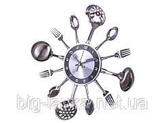 Кухонні годинник Ложки, виделки 35 см Сірий