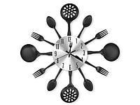 Кухонные часы Ложки вилки 35 см  Черный