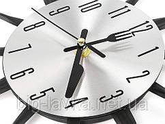 Кухонні годинник Ложки, виделки 35 см Чорний