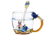 Стакан с ложкой Голубая роза с декором 320 мл 320 мл