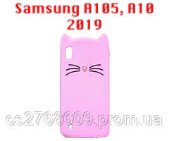"""Чехол силікон """"Кіт"""" Samsung A105, A10 2019 рожевий"""