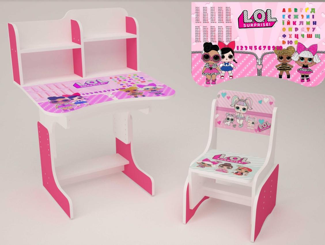 Детская парта школьная растишка со стулом  LOL (Лол) 101, розовая ***