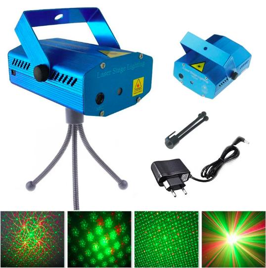 Лазерный проектор с рисунком 4 в 1 HJ08, стробоскоп, лазер шоу дискотека,