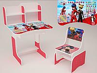 Детская парта школьная растишка со стулом  Леди Баг 107, красная ***