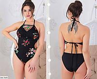 Стильный купальник женский слитный с вышивкой на сетке большие размеры