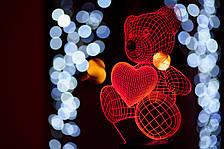 """Подарунок до дня Святого Валентина """"Ведмедик із серцем"""" Лампа світлодіодна """"Ведмедик із серцем"""" 3DTOYSLAMP"""