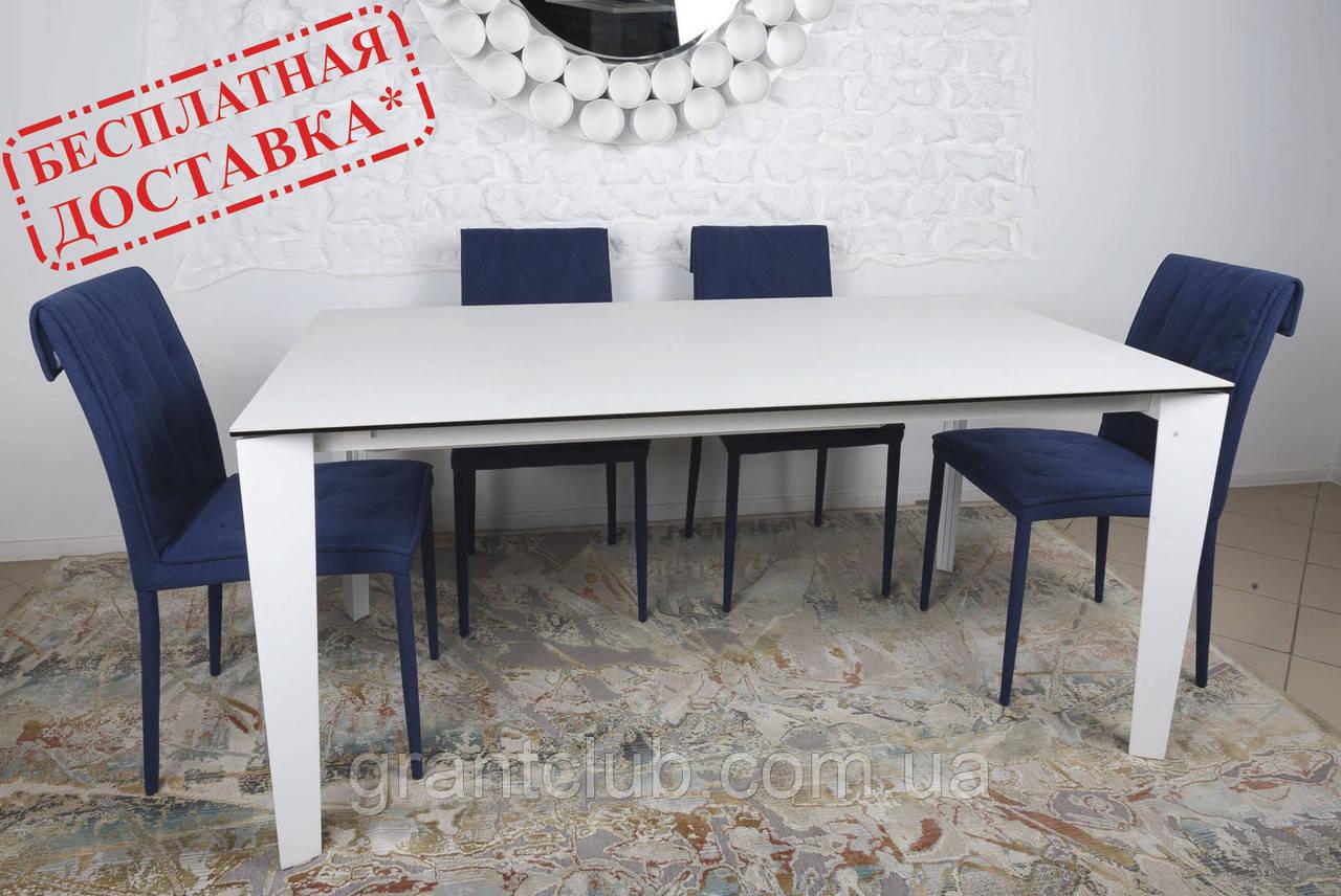 Стол обеденный LIVERPOOL S 140/185/230*85 керамика белый глянец Nicolas (бесплатная доставка)