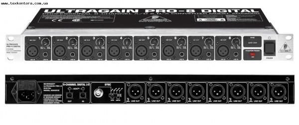 Преобразователь с микрофонными предусилителями ADA8000 ULTRAGAIN PRO 8-канальный