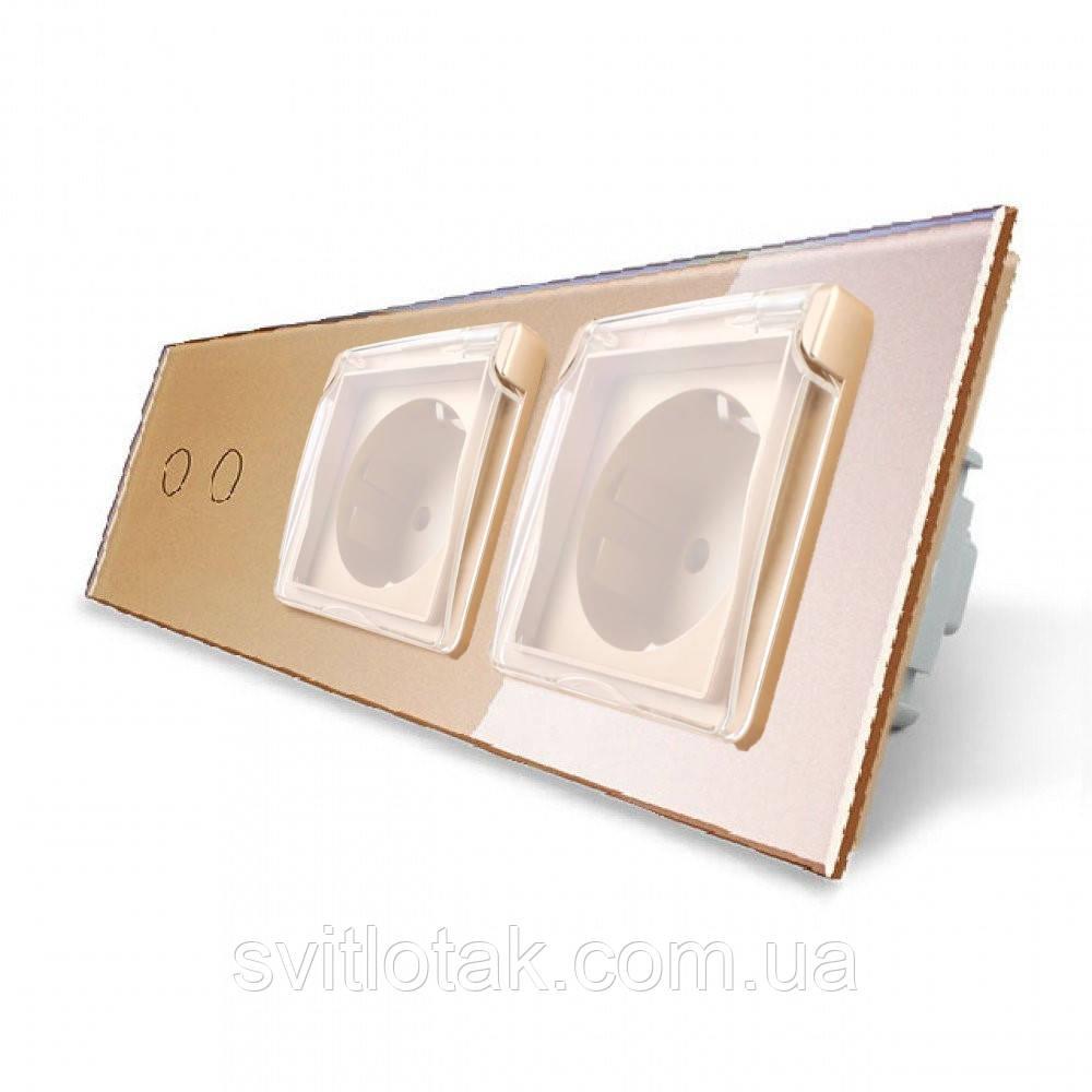 Сенсорный выключатель 2 канала Двойная розетка с крышкой IP44 Livolo золото стекло (VL-C702/C7C2EUWF-13)