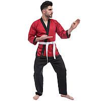 Кимоно для айкикендо каратэ красно-черное AYKIKENDO KARATE AKS Рост 160