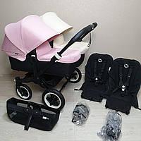 Детская коляска для двойни Bugaboo Donkey Twin Black&Off White&Soft Pink Бугабу