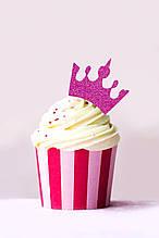 Топпер Корона на кекс, Топперы розовые короны, Топперы для кексов, Розовая корона. Индивидуальный цвет #2