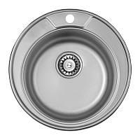 Кухонная мойка стальная, круглая/врезная с нержавеющая сталь, от бренда ULA, серия 7104 U, покрытие Micro Decor (ULA7104DEC08), цвет-нержавеющая