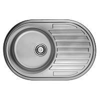 Кухонная мойка стальная, овальная/врезная с нержавеющей стали, от бренд ULA серия 7108 U Satin (ULA7108SAT08), цвет-нержавеющая сталь.