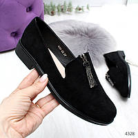 Стильные черные замшевые женские туфли на низком ходу