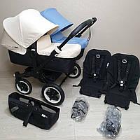 Детская коляска для двойни Bugaboo Donkey Twin Black&Off White&Ice Blue Бугабу