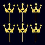 Топпер Корона с сердцем для капкейка, Топперы золотые короны, Топперы для кексов, Индивидуальный цвет!, фото 2