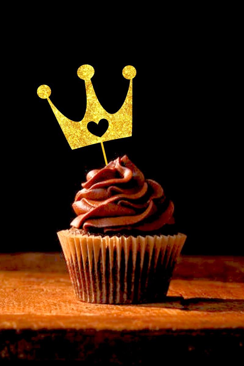 Топпер Корона с сердцем для капкейка, Топперы золотые короны, Топперы для кексов, Индивидуальный цвет!