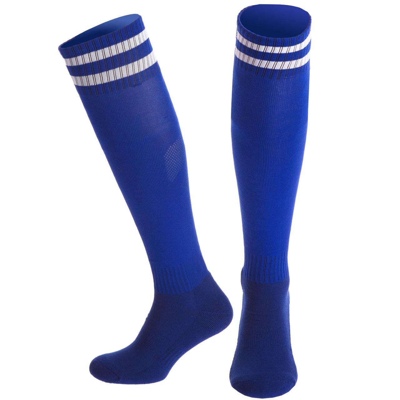 Гетры футбольные взрослые синие с белой полосой CTM011-B