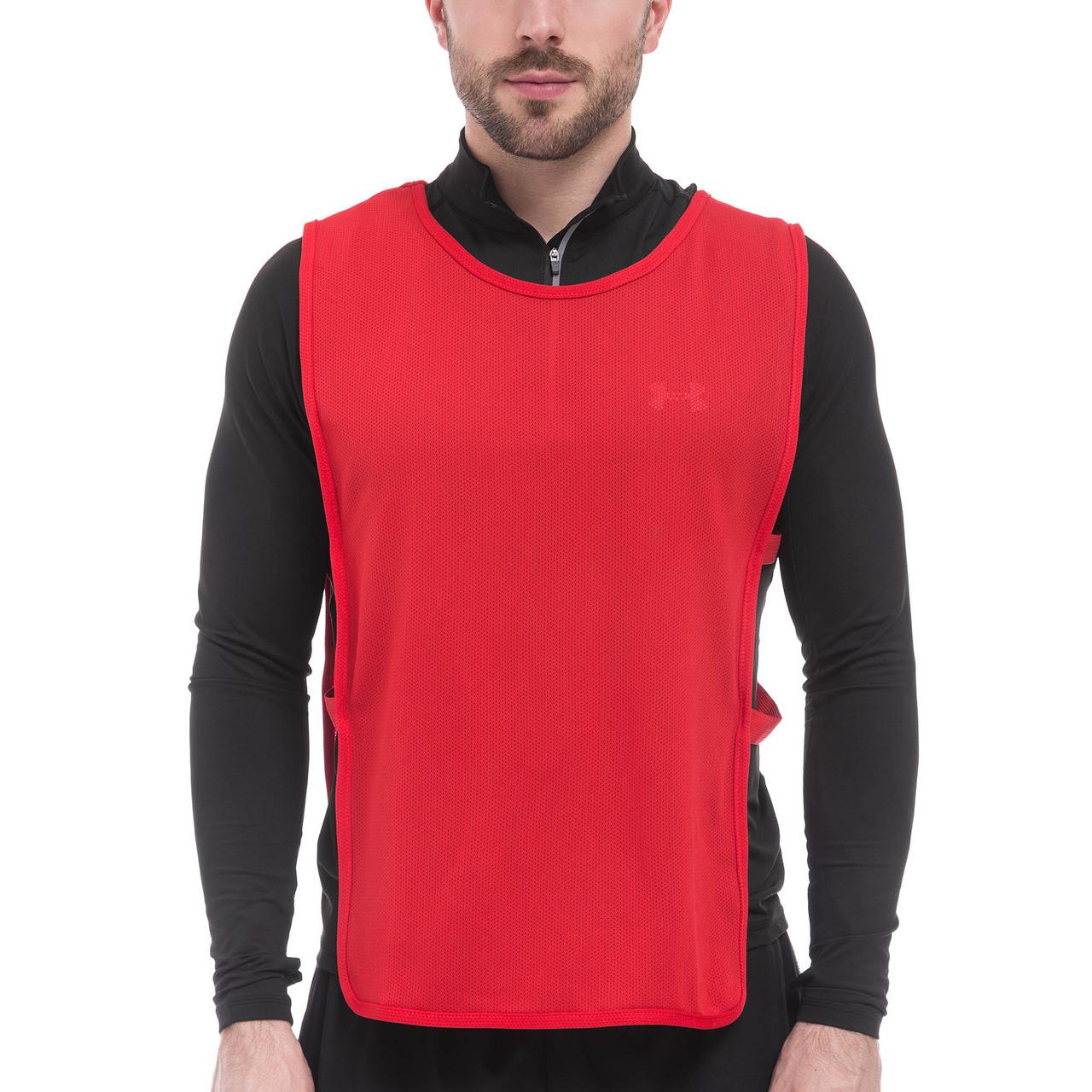 Манишка для футбола мужская с резинкой (сетка) красные CO-1676