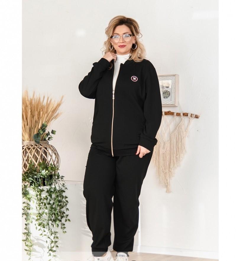 Мягкий повседневный костюм-двойка 14147-1-черный