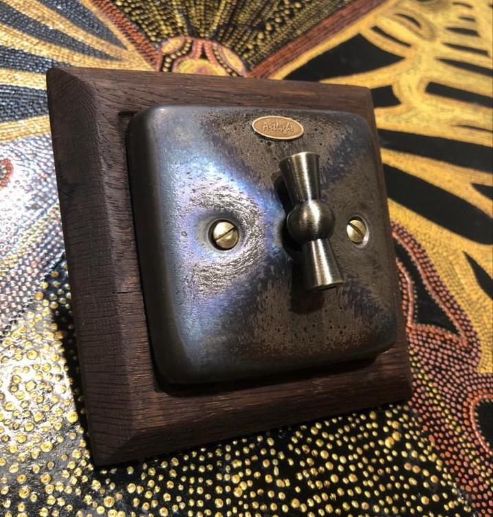 Вимикач поворотний 1-кл., прохідний для прихованого монтажу, Бронза (Ціна вказана без урахування вартості рамки)