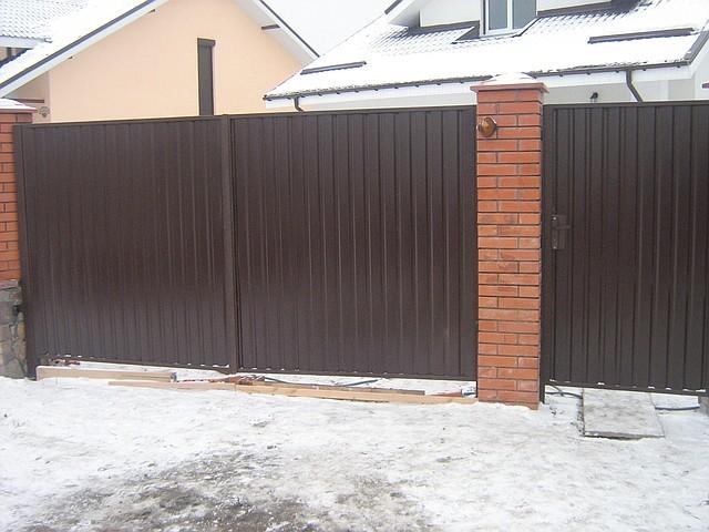 Цена распашных ворот из профнастила каталог металлические ворот
