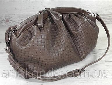 622 Натуральная кожа, Объемная сумка клатч pouch. Сумка женская кофейная - кожаная сумка пельмень