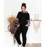 Оригинальный костюм-тройка с брюками, кофтой и жилетом 18-207-черный-бисквит, фото 2