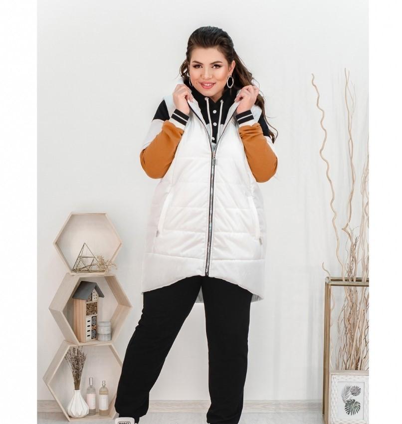 Стильный городской костюм-тройка: брюки, кофта и жилетка 18-223-белый-горчица