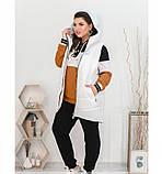 Стильный городской костюм-тройка: брюки, кофта и жилетка 18-223-белый-горчица, фото 2