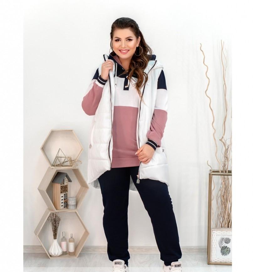 Стильный городской костюм-тройка: брюки, кофта и жилетка 18-223-белый-фреза