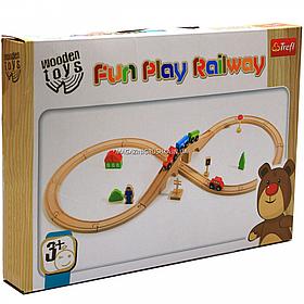 Деревянная игрушка железная дорога Trefl с поездом и машинкой (60921)