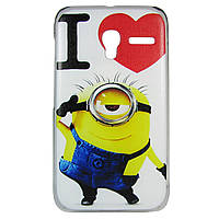 Чехол с рисунком Printed Plastic для Alcatel OneTouch Pixi 3 4009D I love minion