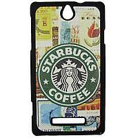 Чехол с рисунком Printed Plastic для Sony Xperia E c1505 c1605 Starbucks coffee