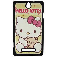 Чехол с рисунком Printed Plastic для Sony Xperia E c1505 c1605 Hello Kitty