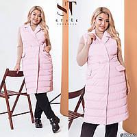 Подовжена жіноча жилетка (3 кольори) ВШ/-1178 - Рожевий, фото 1