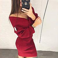 Женское стильное платье с люриксом размер норма 42-44, красного цвета