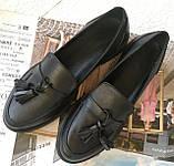 Mercy! Женские черные кожаные лоферы loafer мокасины на низком ходу мерси! Модная новинка!, фото 6