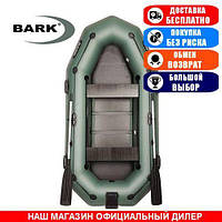 Лодка Bark B-280NPD. Гребная; 2,80м, 3 места, 850/950ПВХ, реечное днище, транец, прив. брус. Надувная лодка ПВХ Барк Б-280НПД;