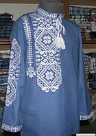 Вышиванка для мальчика Асиметрия джинс белая 146-152  рост