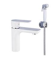 Змішувач для раковини з гігієнічним душем білий / хром Gappo Noar G1048-1