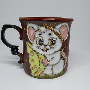 """Чашка керамическая """"Белая мышка с сыром"""""""