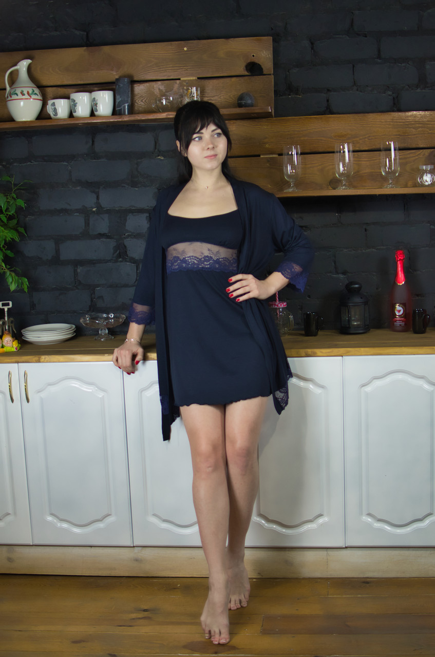 Комплект сорочка и халат, вискоза с кружевом Serenade синий